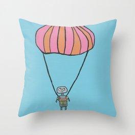 Skydiving Robot Throw Pillow