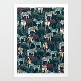 zebra navy Art Print