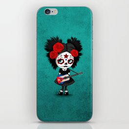 Day of the Dead Girl Playing Cuban Flag Guitar iPhone Skin