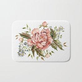 Pink Wild Rose Bouquet Bath Mat