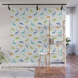 Space Dinosaurs on White (Orange + Blue) Wall Mural