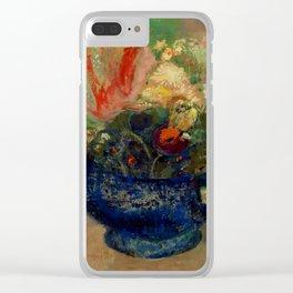 """Odilon Redon """"Flowers in a Blue Cup (Fleurs dans une coupe bleue)"""" Clear iPhone Case"""