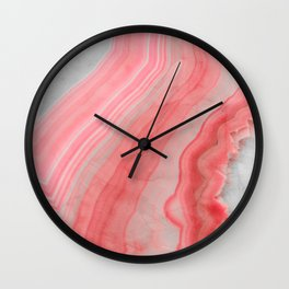 Coral Pink Agate  Wall Clock