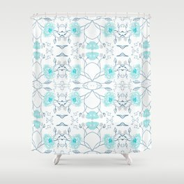 Shade of blue floral pattern Shower Curtain