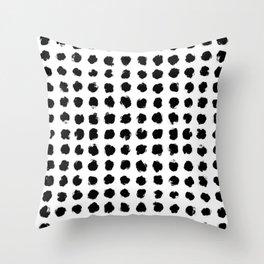 Black and White Minimal Minimalistic Polka Dots Brush Strokes Painting Throw Pillow