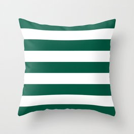 Castleton green - solid color - white stripes pattern Throw Pillow