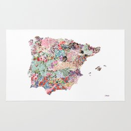 Spain map flowers composition Rug