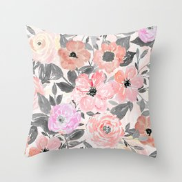Elegant simple watercolor floral Throw Pillow