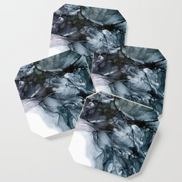 Dark Payne's Grey Flowing Abstract Painting Coaster
