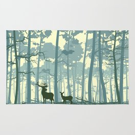 deer and deer in the forest Rug