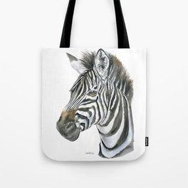 Zebra Watercolor Painting - African Animal Painting Wildlife Head Bust Tote Bag