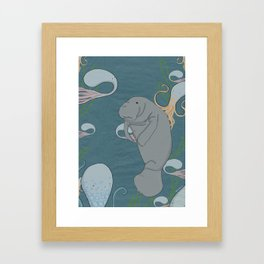 I'd like to be a manatee. In an octopus' garden in the shade Framed Art Print