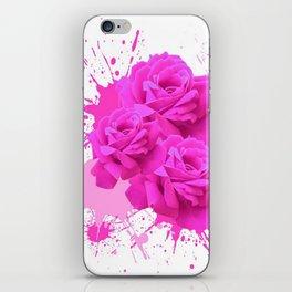 CERISE PINK ROSE PATTERN WATERCOLOR SPLATTER iPhone Skin