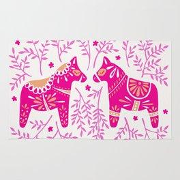 Swedish Dala Horses – Pink Palette Rug