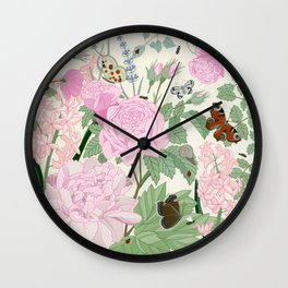 Pink flowers and butterflies Wall Clock