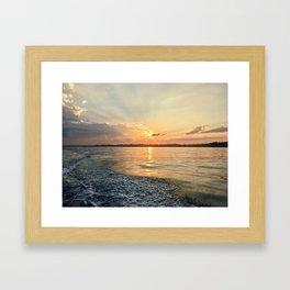 Sunset in Salem Harbor Framed Art Print