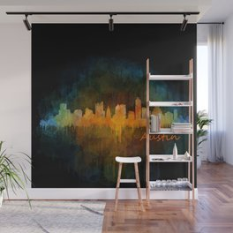 Austin Texas, City Skyline, watercolor  Cityscape Hq v4 Dark Wall Mural