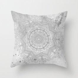 gray splash mandala swirl boho Throw Pillow