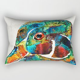 Colorful Wood Duck Art by Sharon Cummings Rectangular Pillow