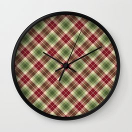 Holiday Plaid 16 Wall Clock