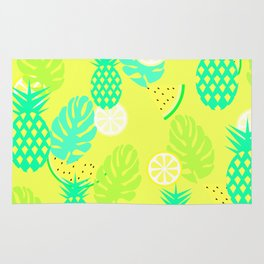 Watermelons and pineapples in yellow Rug