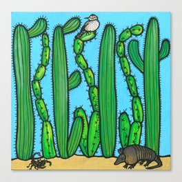 RESIST - armadillo, cactus wren, scorpion on THE WALL Canvas Print