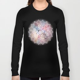 Whimsical white watercolor mandala design Long Sleeve T-shirt
