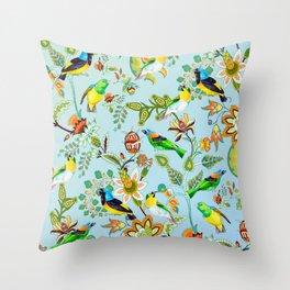 Colourful Birds Chintz Multicolour Throw Pillow