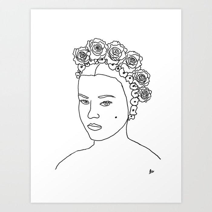 Katherine (Female with flowers portrait series) Art Print