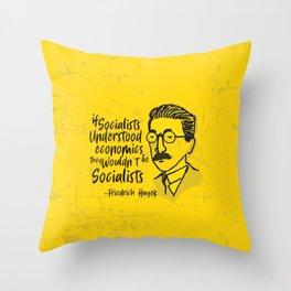 Friedrich Hayek Illustration Throw Pillow