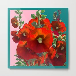 Orange Hollyhocks Southwest  Garden Metal Print
