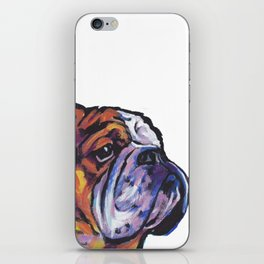 Fun English Bulldog Dog Portrait bright colorful Pop Art Painting by LEA iPhone Skin