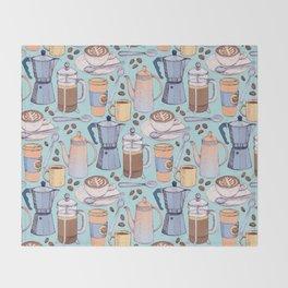 Coffee Love on Blue Throw Blanket