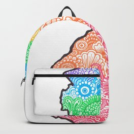 New Jersey State Mandala Silhouette by Imaginarium Creative Studios Backpack