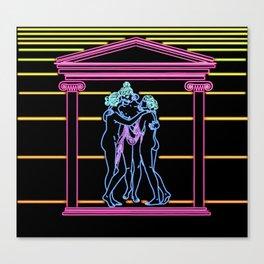 Three Ladies Neon Canvas Print