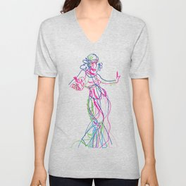 Tribal fusion dance color power. Abstract. Neon glowing  gesture sketch Unisex V-Neck