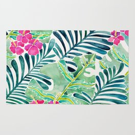 Lush Tropical Fronds & Hibiscus Rug