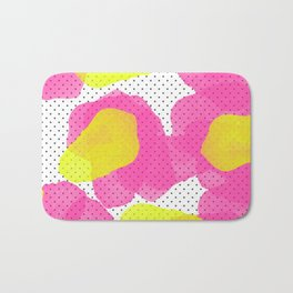 Sarah's Flowers - Abstract Watercolor on Polka Dots Bath Mat