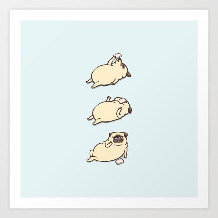 Phone Drop Pug Art Print