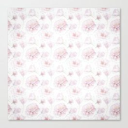 Soft Pastel Pink Rose Pattern Canvas Print