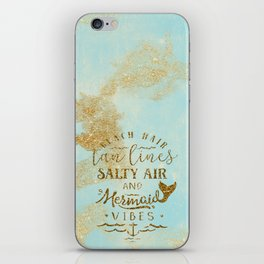 Beach - Mermaid - Mermaid Vibes - Gold glitter lettering on teal glittering background iPhone Skin