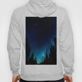 Black Trees Turquoise Milky Way Stars Hoody