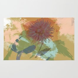 Autumnal Brushstrokes, Abstract Floral Art Rug