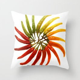 Charleston Hot Peppers Color Wheel Throw Pillow
