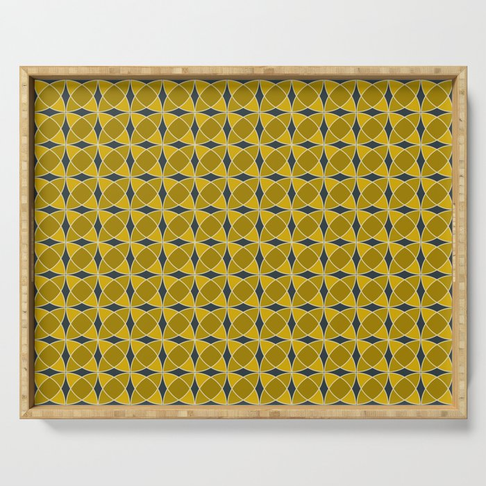 Geometric pattern with interlaced circles in gold Serving Tray