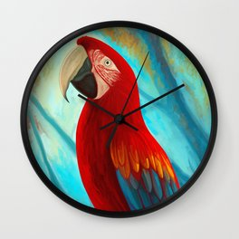 Technicolor Macaw Wall Clock