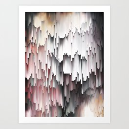 White Black Mauve Cascade Abstract Art Print