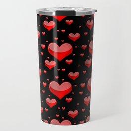Hearts Red and Black Travel Mug