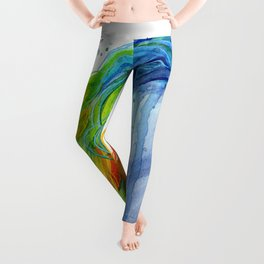Rainbow Unicorn Colorful Watercolor Animal Leggings