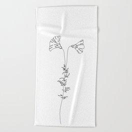 Botanical line drawing - Kate Beach Towel